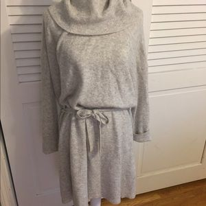 Madewell grey cowl neck sweater dress with belt